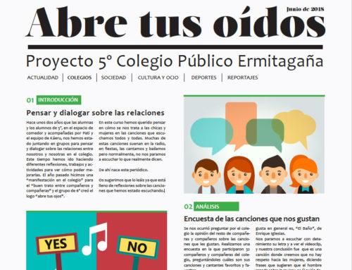 """""""Abre tus oídos""""; el periódico que hemos hecho con los niños y niñas de 5º del CP Ermitagaña"""